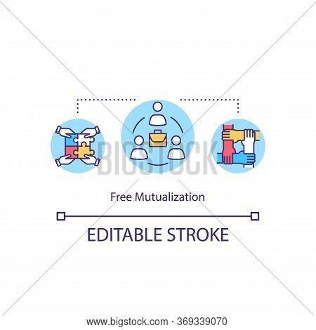 Free Mutualization Concept Icon. Business Partnership. Collaborative Project. Company Integration Id