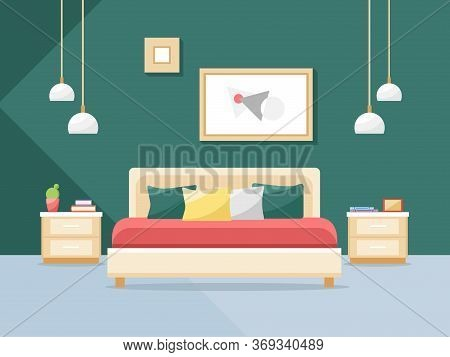 Bedroom Interior In A Flat Style. Bed And Other Bedroom Furniture. Vector Illustration