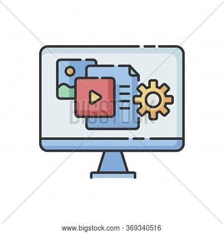 Content Manager Rgb Color Icon. Pr Strategy. Blogging To Promote Brand. Webpage Optimization And Upd