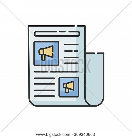Advertorial Rgb Color Icon. Native Advertisement In Newspaper. News For Engagement. Journalist Artic