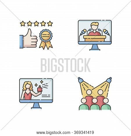 Corporate Identity Rgb Color Icons Set. Brand Ambassador. Corporate Identity. Client Review. Custome