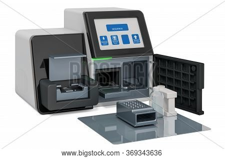 Dna Sequencer, 3d Rendering Isolated On White Background