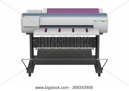 Plotter, Large Format Inkjet Printer. 3d Rendering Isolated On White Background