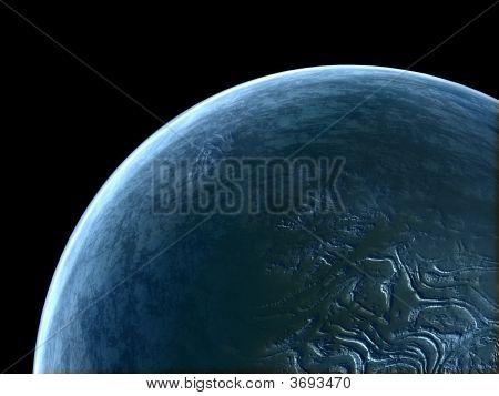 Alien Blue Unknown Planet In Empty Space