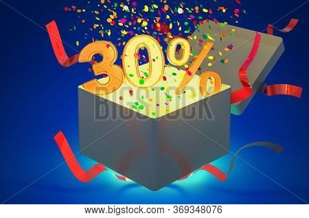 Gift Box With 30 Percent Inside. Holidays Discount And Offer Concept. 3d Rendering On Dark Blue Back