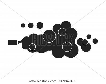 Car Exhaust Gases Silhouette Flat Style. Vector Isolated On White Background.