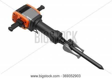 Jackhammer, Pneumatic Drill Or Demolition Hammer. 3d Rendering Isolated On White Background