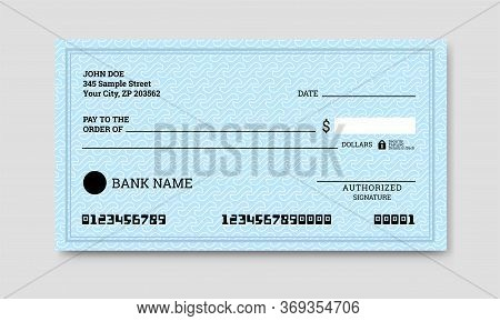 Bank Check Template. Empty Cheque Page. Vector