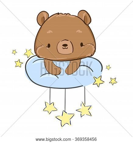 Ute Teddy Bear Is Sitting On A Cloud And Stars. Vector Illustration. Print For Pajamas.