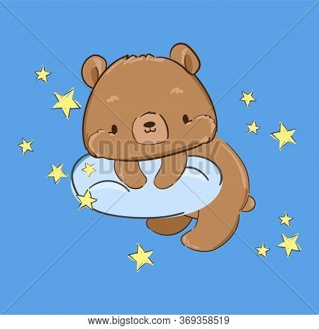 Ute Teddy Bear Is Sitting On A Cloud. Vector Illustration. Print For Pajamas.