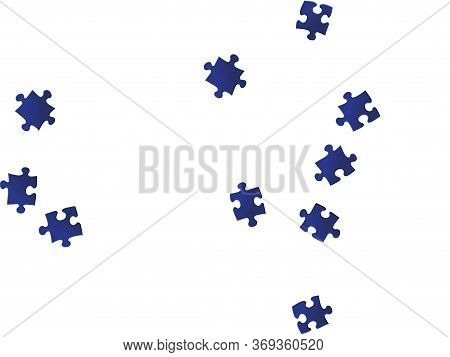 Abstract Tickler Jigsaw Puzzle Dark Blue Pieces Vector Background. Top View Of Puzzle Pieces Isolate