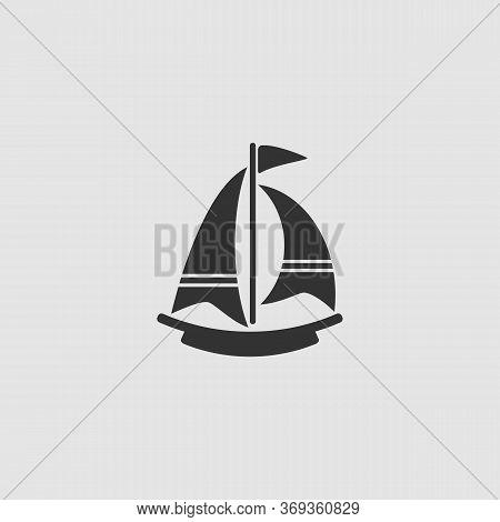 Boat Icon Flat. Black Pictogram On Grey Background. Vector Illustration Symbol
