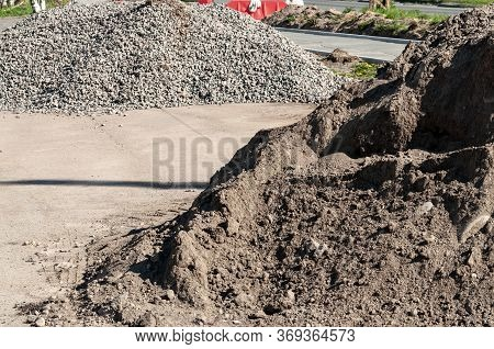 A Pile Of Dirt And Rubble At A Construction Site. Road Repairs