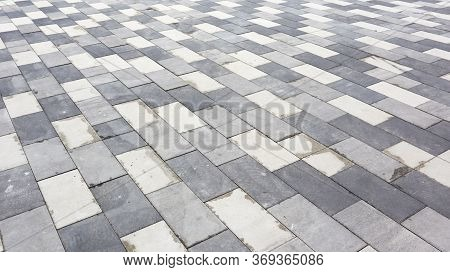 Concrete Paving Slabs. Abstract Gray Paving Slab Texture Background. Paving Stones Of Rectangular Sh