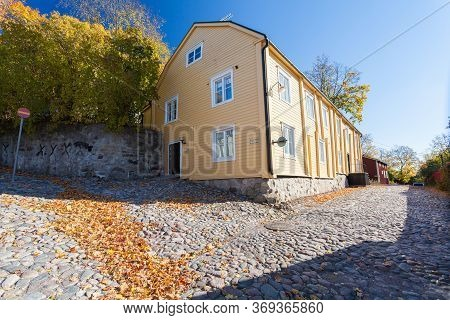 Finland, Porvoo - October10, 2016: Street And Colored House In Old Town Porvoo.