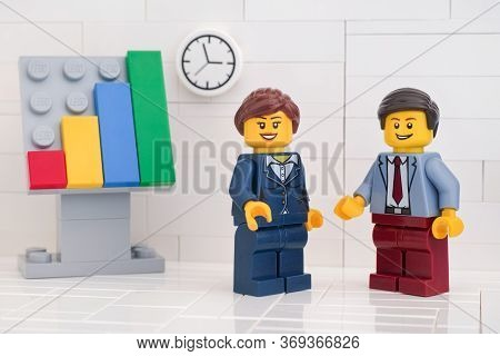 Tambov, Russian Federation - May 29, 2020 Two Lego Minifigure Businessmen Having A Meeting And Discu