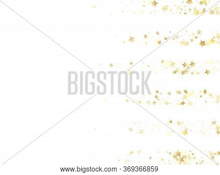 Magic Gold Sparkle Texture Vector Star Background. Carnival Gold Falling Magic Stars On White Backgr