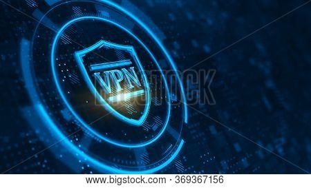 VPN on shield icon - VPN network security, internet privacy concept. 3d rendering