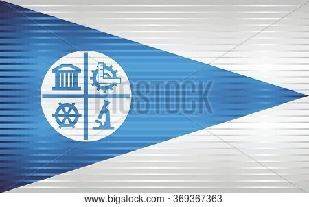 Shiny Grunge Flag Of The City Of Minneapolis - Illustration,  Three Dimensional Flag Of The City Of