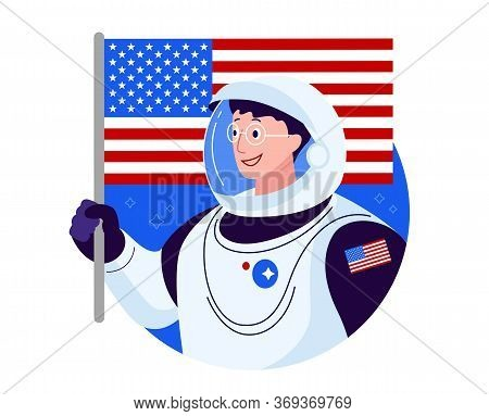 American Astronaut With American Flag - Happy Smiling Usa Astronaut In Glasses Vector Image Illustra