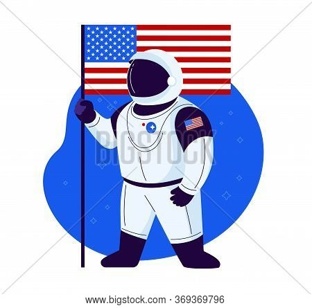 American Astronaut Stands With American Flag In A New Space Suit Ready To Launch And Proud Of The Us