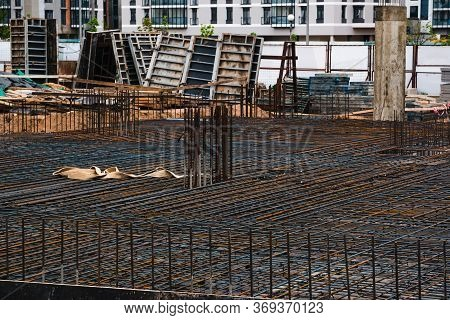 Reinforcement In The Foundation Prepared For Pouring Concrete. Using Steel Wire. Knitted Reinforceme