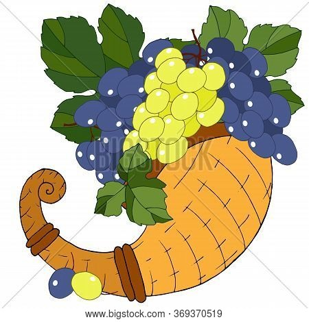 Horn Of Abundance With Grapes, Vector Illustration, Isolate On A White Background