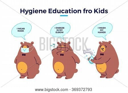 Hygiene For Kids, Illustration Steps To Prevent Virus Infection. Cute Cartoon Bear Character Wearing