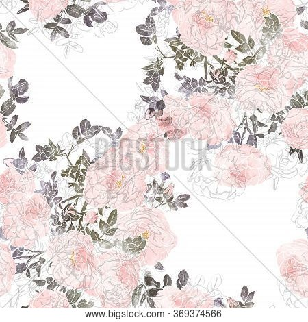 Seamless Pattern With Rose Flowers. Mix-media Design. Digital Illustration With Watercolor Textures.