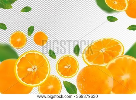 Orange Background. Flying Orange With Green Leaf On Transparent Background. 3d Realistic Fruits. Ora