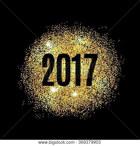Gold Glitter Happy New Year 2017 Background. Glittering Texture. Gold Sparkles With Frame. Chic Invi