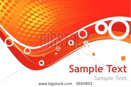 Abstract wave orange background with sample text poster