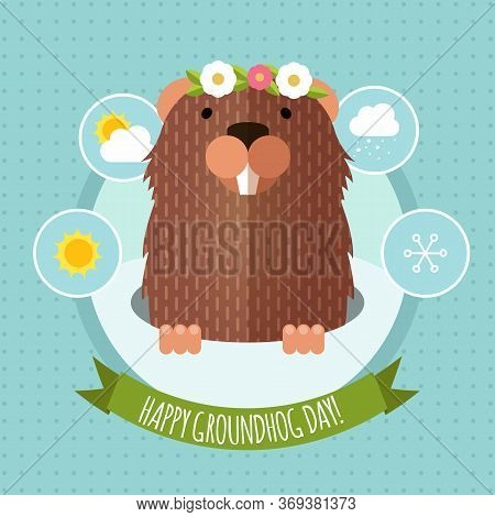 Happy Groundhog Day Design With Flat Cute Groundhog