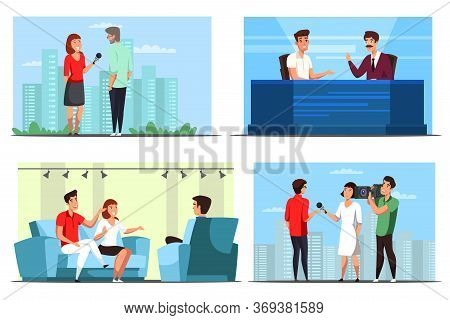 Journalists Man And Woman Cartoon Character. Live News And Tv Show Interview Scenes Set. Television