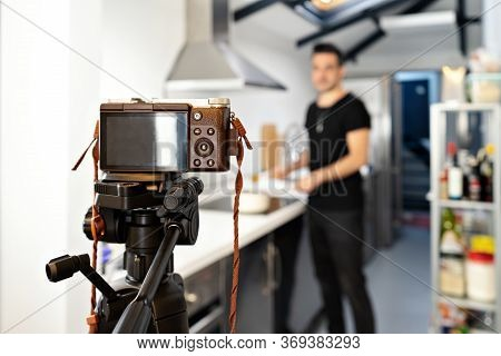 Food Blogger Blogger Is Recording Tutorial Online In Front Of Camera. Welness Coach. Vlog Video Live