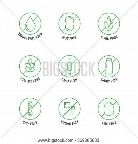 Organic Food And Drink Stickers. Product Free Allergen Line Icons. Food Intolerance. Natural Product