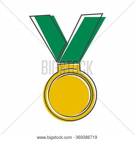 Vector Icon Medal. Medal Of Honor, Congratulations Cartoon Style On White Isolated Background.