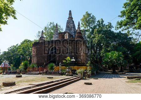 Chiang Mai Thailand-11 January 2020:wat Chet Yot Temple,ฺb.e. 1998 King Bhumibol Adulyadej The 9th K