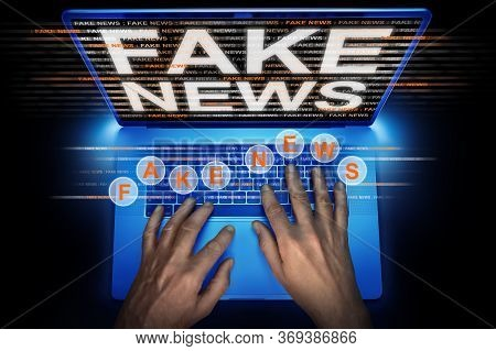 Hacker Spreading Fake News On A Laptop
