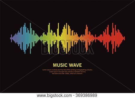 Popular Pulse Music Player On Black Background. Audio Colorful Wave Logo. Vector Rainbow Equalizer E