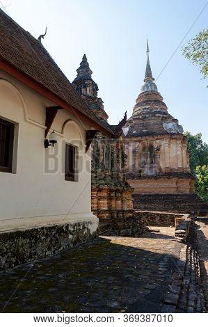 Wat Chet Yot Temple,ฺb.e. 1998 King Bhumibol Adulyadej The 9th King Of The Mangrai Dynasty Built Of