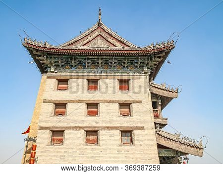 Xian, China - April 30, 2010: North Gate Of Huancheng City Wall. Side Facade In Chinese Traditional