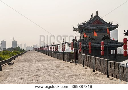 Xian, China - April 30, 2010: North Gate Of Huancheng City Wall. View To The West Above And Along Ra