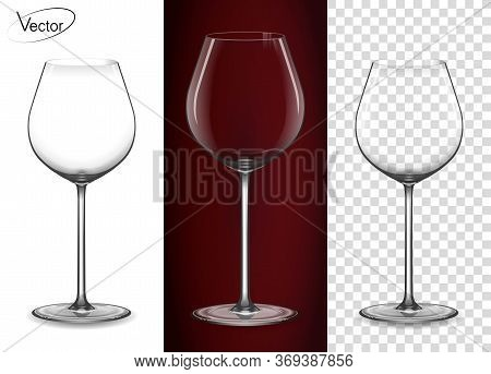 Empty Glass On A Transparent Background And On A Red Background. A Glass For Red Wine And Champagne.