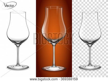 Realistic, Highly Detailed Layout. A Glass For Cognac And Armagnac. Empty Glass On A Transparent Bac