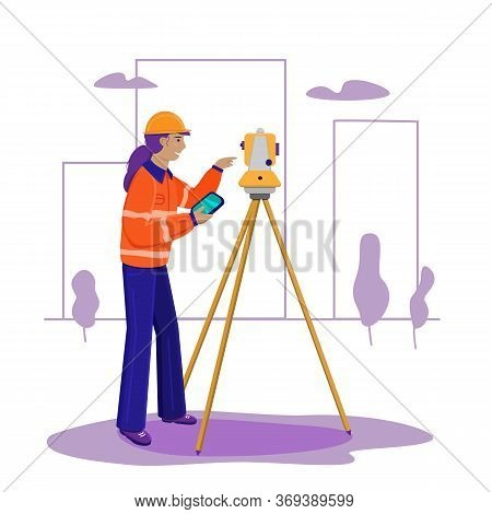 Surveyor Woman Working With Theodolite Outdoor On The Background Trees And City. Engineer Girl With