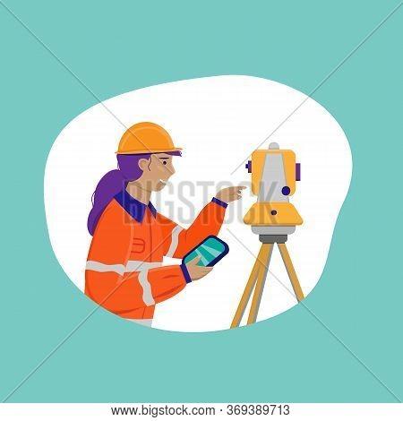 Surveyor Woman Working With Theodolite Outdoor. Engineer Girl With Surveyor Equipment. Smiling Worke