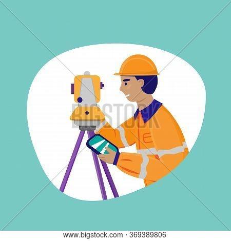 Surveyor Working With Theodolite Outdoor. Engineer With Surveyor Equipment. Smiling Worker Cartoon F