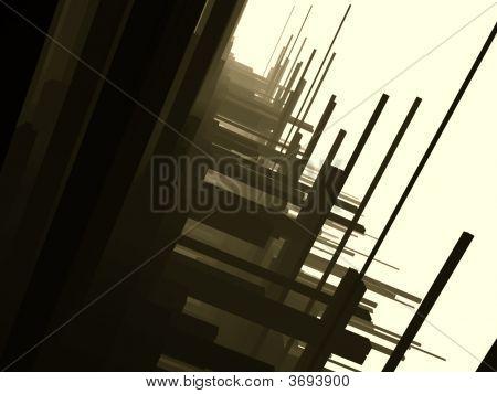 Dark Futuristic Fantasy Alien Constructions In Afternoon