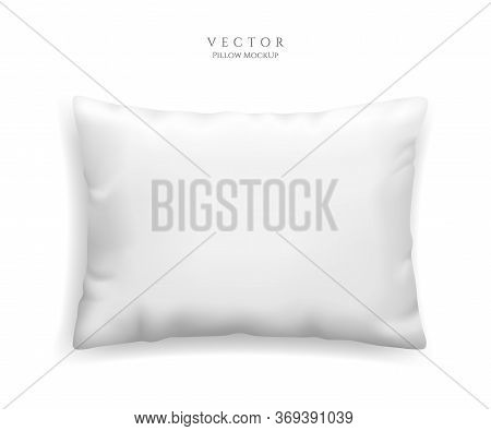 Clean White Pillow Mockup Isolated On White Background, Vector Illustration In Realistic Style. Rect